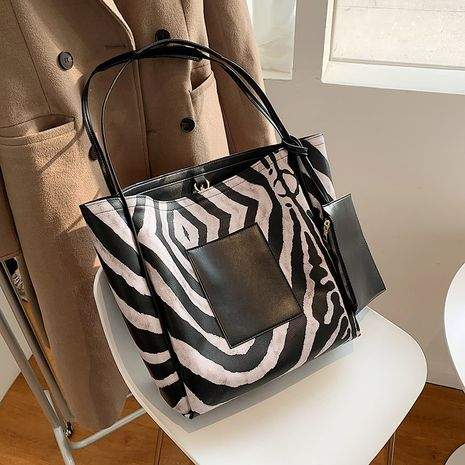 new trendy  large capacity black  white striped bag  NHJZ276816's discount tags