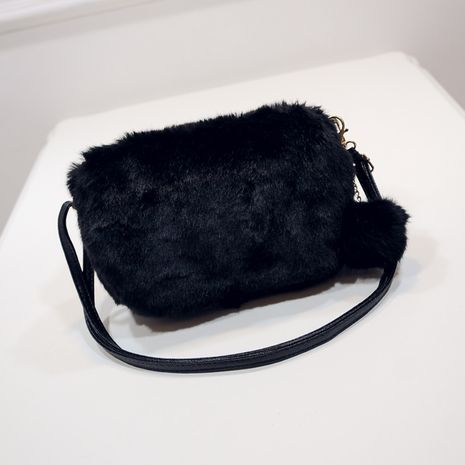 Korean winter plush shoulder messenger bag Hairy bag for women  NHRU276878's discount tags