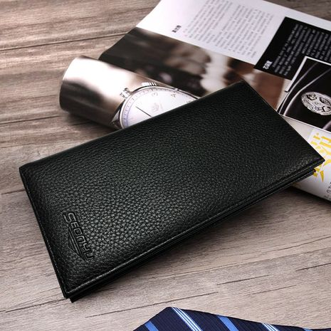 Korean  new PU leather lychee pattern casual men's long wallet NHBN276971's discount tags