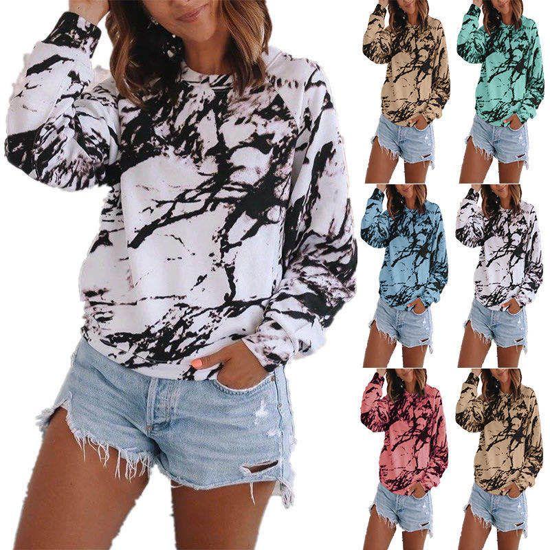 Loose top tie-dye printing long-sleeved top NHUO276993
