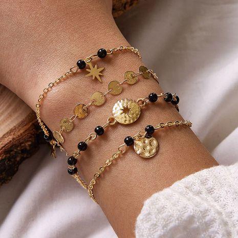 new  simple black bead round piece  handmade beaded bracelet  NHGY276985's discount tags