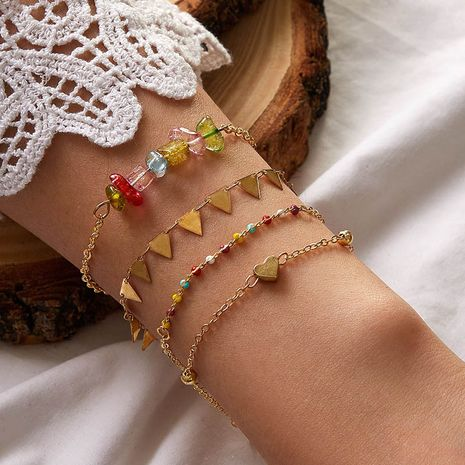 new  creative color crystal love triangle bracelet NHGY276982's discount tags