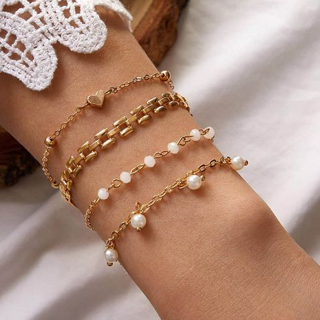 new  thick chain white acrylic beads 4 heart-shaped bracelet set NHGY276981's discount tags