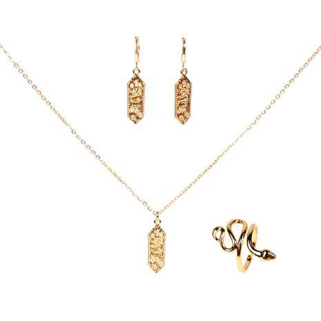 Moda nuevo cobre micro incrustaciones de circón cuadrado pendientes de serpiente collar anillo conjunto NHPY264733's discount tags