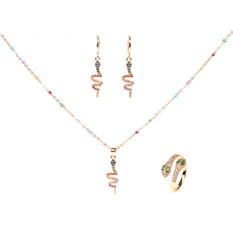 moda nuevo diamante ojos verdes serpiente de dos cabezas anillo abierto collar pendientes conjunto NHPY264734's discount tags