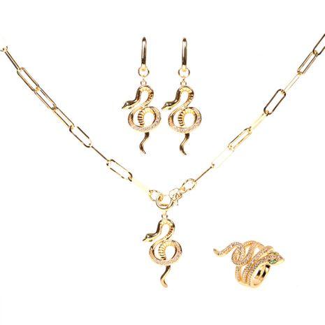 punk hip-hop estilo cuerda gruesa nuevos pendientes en forma de serpiente collar anillo conjunto NHPY264735's discount tags