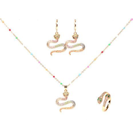 nuevo conjunto de anillo de collar de aretes en forma de serpiente de cobra de diamantes NHPY264736's discount tags