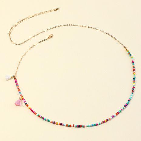 chaîne de taille de perles de riz pompon de couleur Chaîne de corps de style ethnique bohème NHNZ264799's discount tags