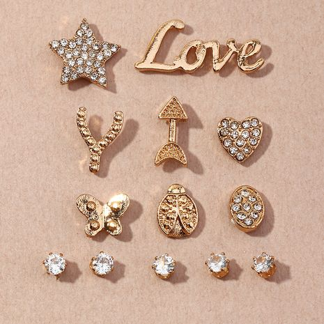 simple style fashion diamond five-pointed star love earrings set NHNZ264808's discount tags
