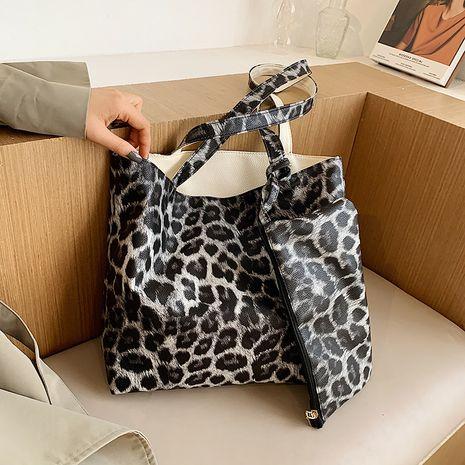 Neue trendige High-End-Einkaufstasche mit hoher Kapazität und koreanischer Handtasche mit Leopardenmuster NHJZ264851's discount tags