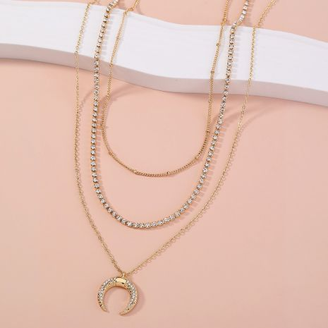 fashion  multi-layer retro moon horn diamond necklace NHAN264901's discount tags