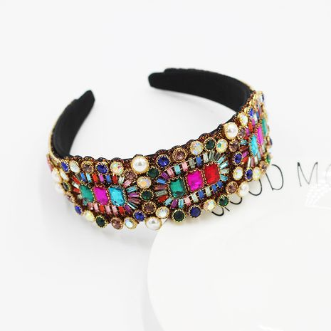 baroque fashion   wide-sided luxury full diamond color geometric headband  NHWJ264904's discount tags