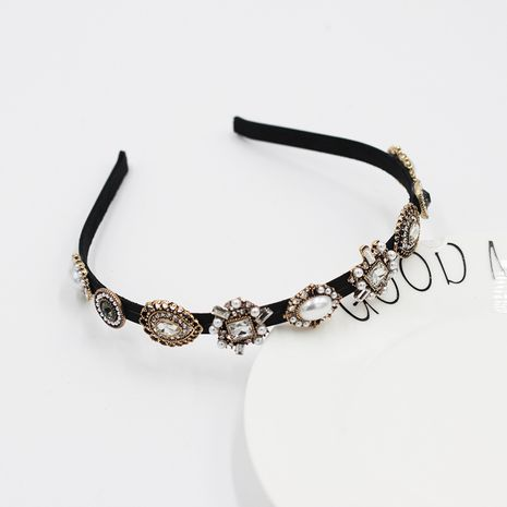 New Korean fashion simple diamond-studded pearl geometric headband  NHWJ264903's discount tags