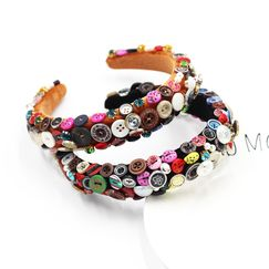 New  fashion color buttons geometric headband NHWJ264905