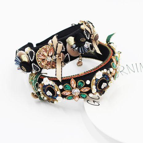 Nouvelle mode baroque à la main éponge figure géométrique noeud papillon perle strass bandeau NHWJ264908's discount tags