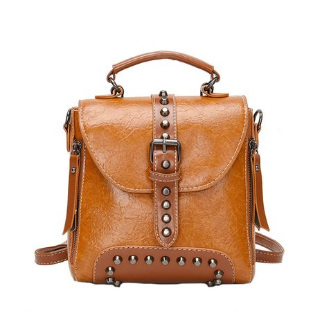 all-match casual PU leather bag  large capacity outdoor travel backpack NHLH264955's discount tags