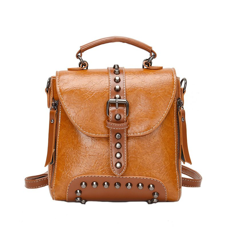 all-match casual PU leather bag  large capacity outdoor travel backpack NHLH264955