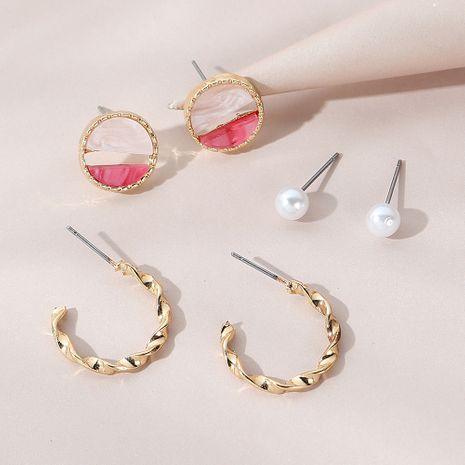 Korean  all-match  retro  pearl earrings set  NHPS265010's discount tags