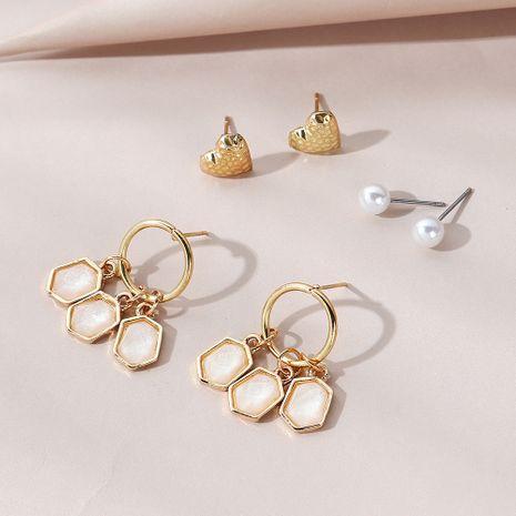 Korean retro fashion all-match creative  careful pearl earrings set NHPS265011's discount tags