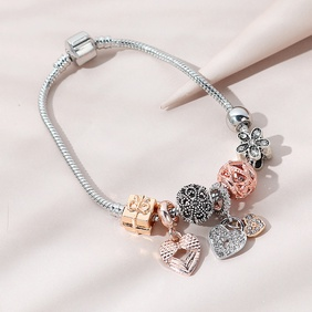 Korean fashion creative  trend line peach heart  bracelet NHPS265022