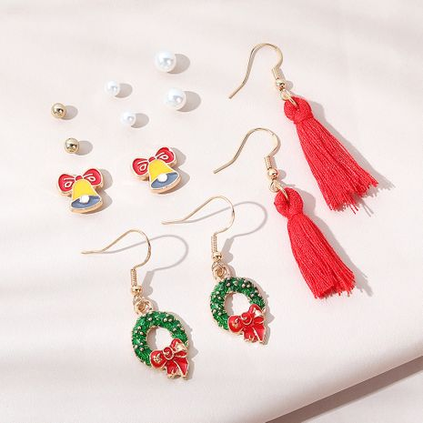 Christmas creative popular  bow garland earrings set NHPS265033's discount tags