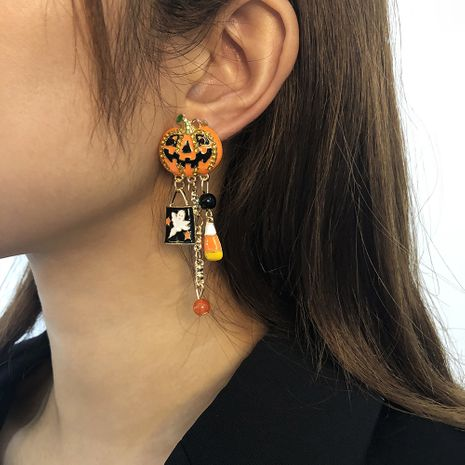 Halloween fashion  funny pumpkin  alloy dripping exaggerated earrings NHMD265072's discount tags