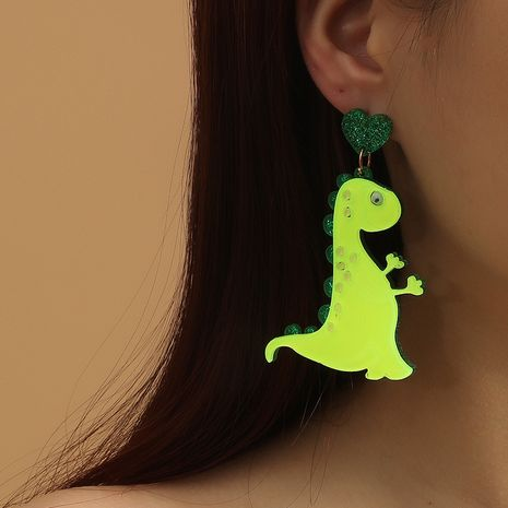 new fashion exaggerated acrylic  simple retro  creative green cute pet dinosaur earrings NHKQ265121's discount tags