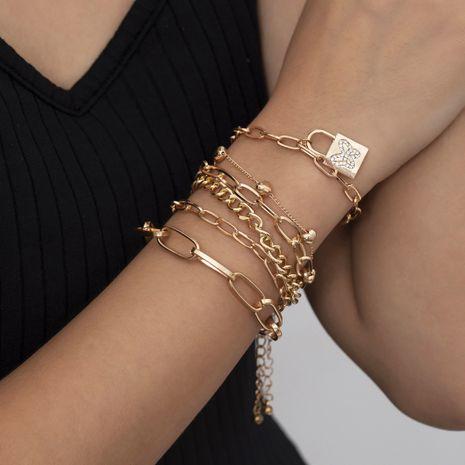 retro peach  creative diamond butterfly lock bracelet set NHXR265134's discount tags