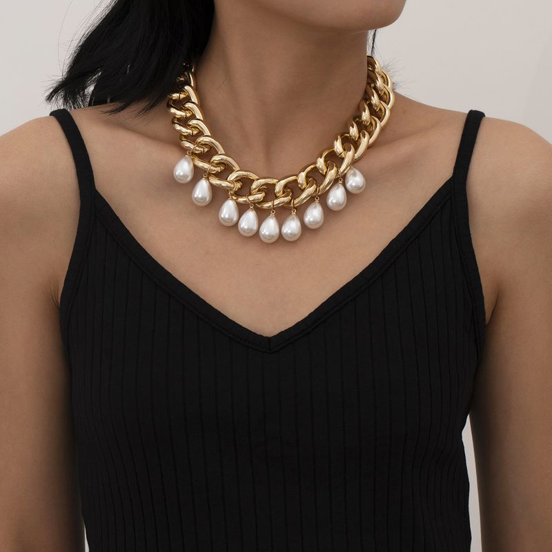 creative  exaggerated trendy  retro imitation pearl  necklace NHXR265138