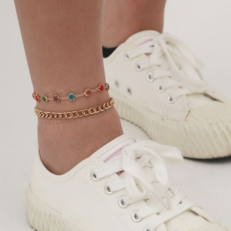 creative   simple double-layer copper handmade  retro  anklet NHXR265153's discount tags