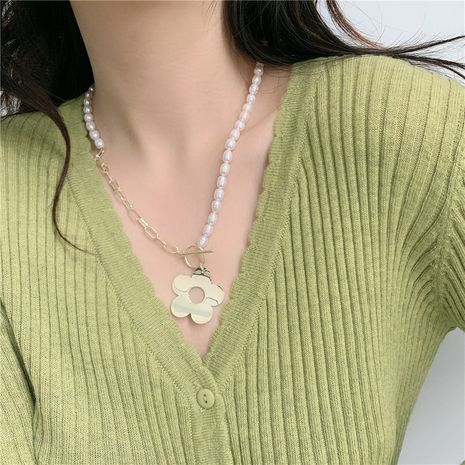 Korea  long  freshwater pearl flower  necklace NHYQ265177's discount tags