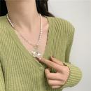 Korea  long  freshwater pearl flower  necklace NHYQ265177