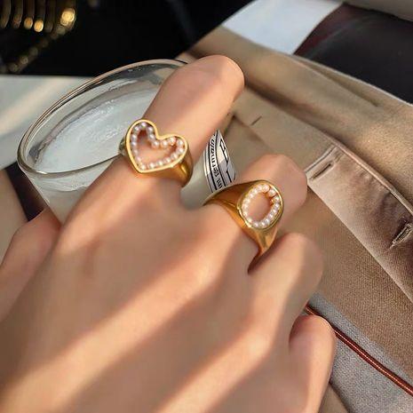 Korea  glossy pearl love ring  NHYQ265198's discount tags