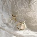 retro fashion  geometric hollow cross wild pearl opening  ring NHYQ265206