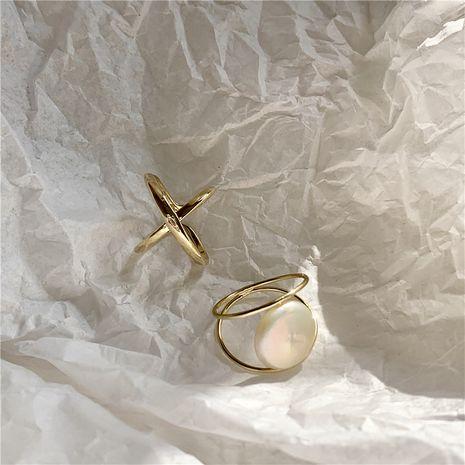 bague d'ouverture de perle sauvage croix creuse géométrique de mode rétro NHYQ265206's discount tags