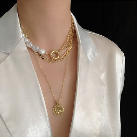 French retro coin pearl  necklace  NHYQ265226's discount tags