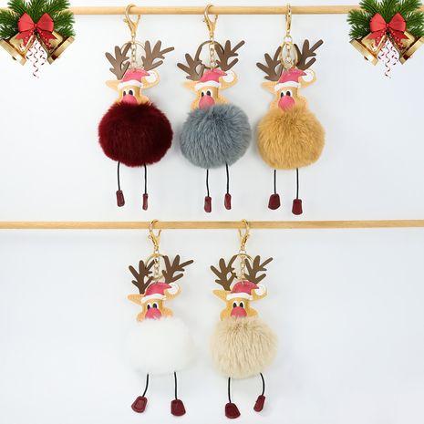 Weihnachten niedlichen Elch Nachahmung Rex Kaninchen Fell Ball Schlüsselbund NHAP265231's discount tags