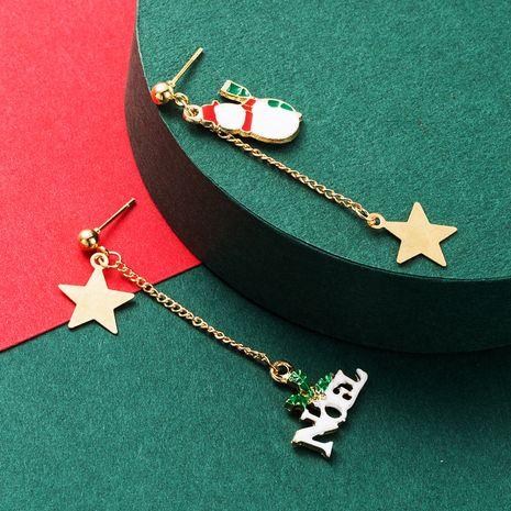 Boucles d'oreilles de bonhomme de neige créatives de Noël à cinq branches NHLN265247's discount tags