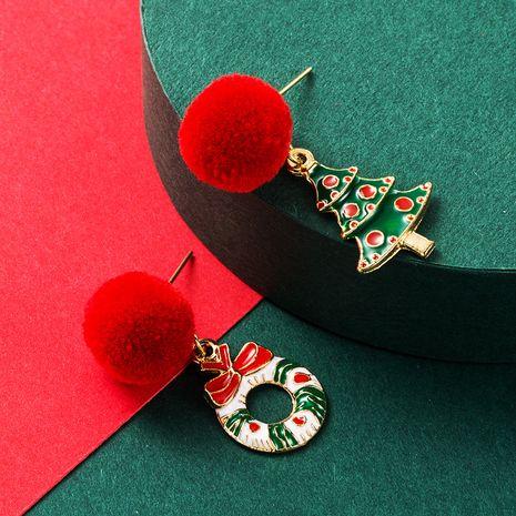 Christmas Series Alloy Oil Drop Color Christmas Tree Hair Ball Earrings NHLN265251's discount tags