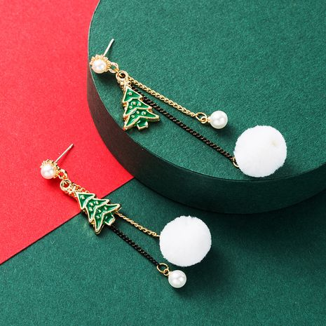 Christmas  Series Pearl  Alloy Oil Dropping Christmas Tree Hair Ball  Earrings NHLN265254's discount tags