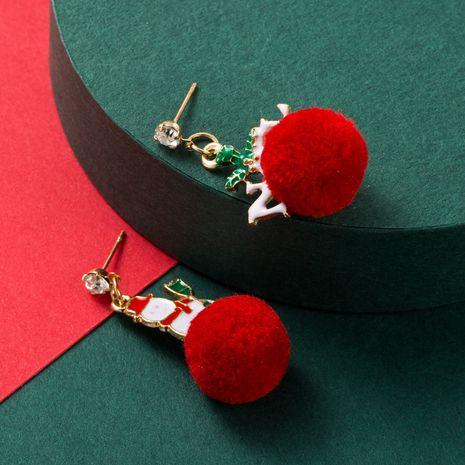 Christmas series alloy drip oil Santa hair ball earrings  NHLN265257's discount tags