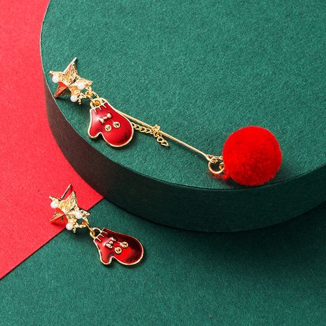 Christmas series cute gloves heart-shaped hair ball earrings  NHLN265260's discount tags