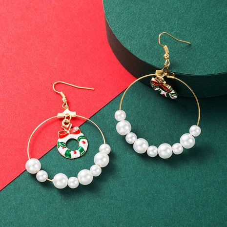Mode Big Circle Perle Weihnachtsohrringe NHLN265261's discount tags