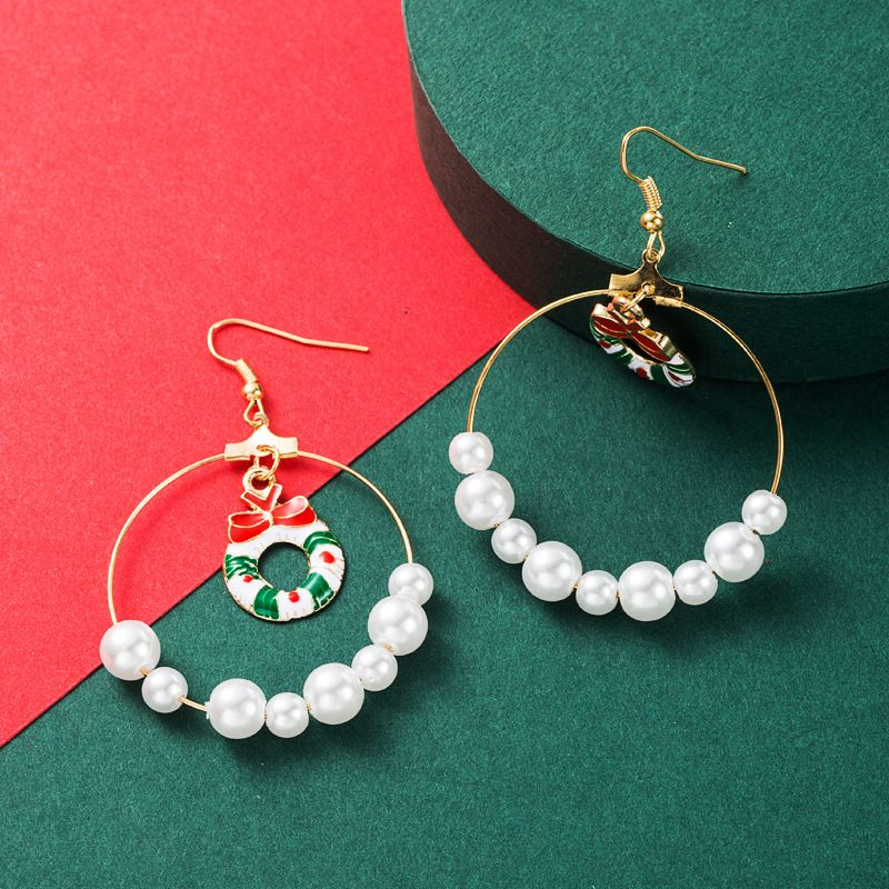 fashion  big circle pearl Christmas earrings NHLN265261