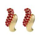 geometric twisted   alloy inlaid rhinestones  simple earrings  NHLN265264