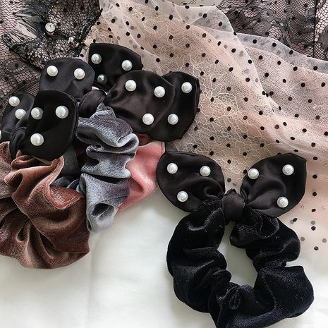 nouveaux simples oreilles de lapin en velours perlé simples chouchous cheveux sauvages NHHI265284's discount tags
