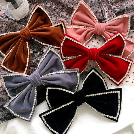 Korean  new bow gold velvet  cute diamond hairpin  NHHI265291's discount tags