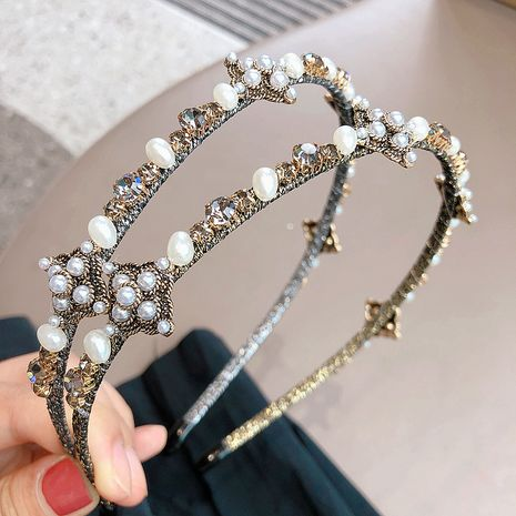 Korean  retro crystal bead flower winding headband  NHHI265292's discount tags