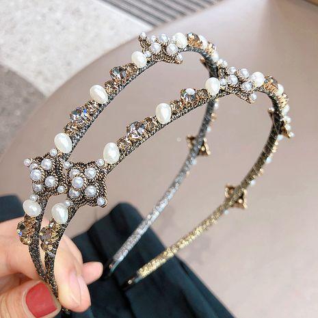 Serre-tête à enroulement de fleur de cristal rétro coréen NHHI265292's discount tags
