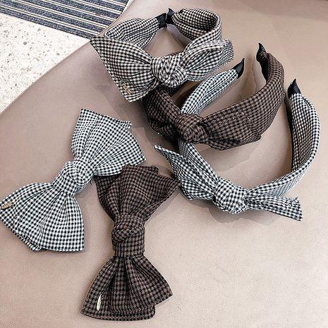 Korea  retro wild checkered bow steel clip headband  NHHI265293's discount tags